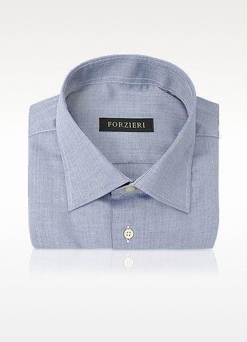 Forzieri Blue Herringbone Dress Shirt