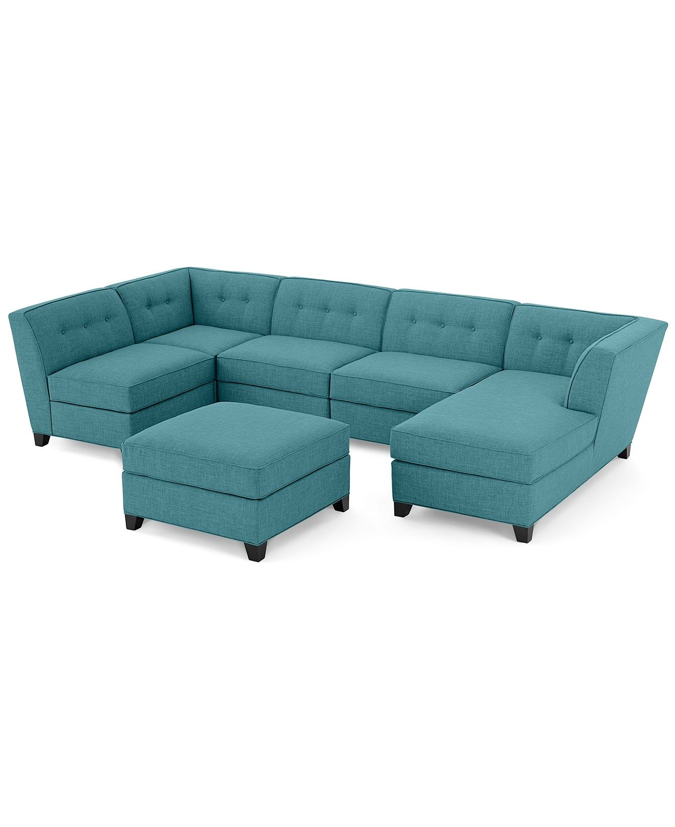 Harper Fabric 6 Piece Modular Chaise & Ottoman Sectional Sofa in