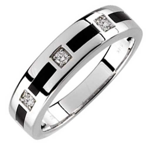 Diamonds are hard to keep masculine for mens wedding bands But