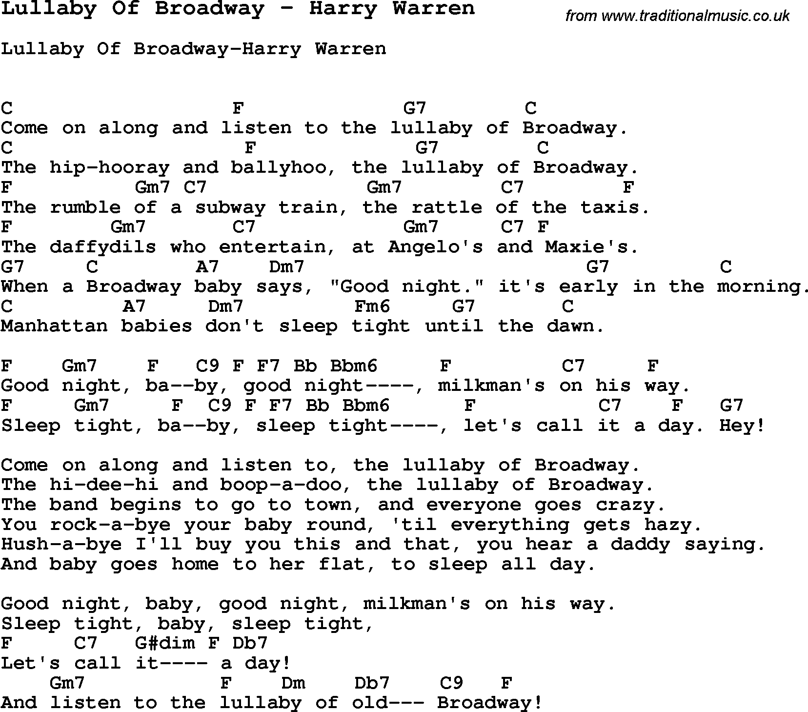 Song Lullaby Of Broadway By Harry Warren With Lyrics For Vocal