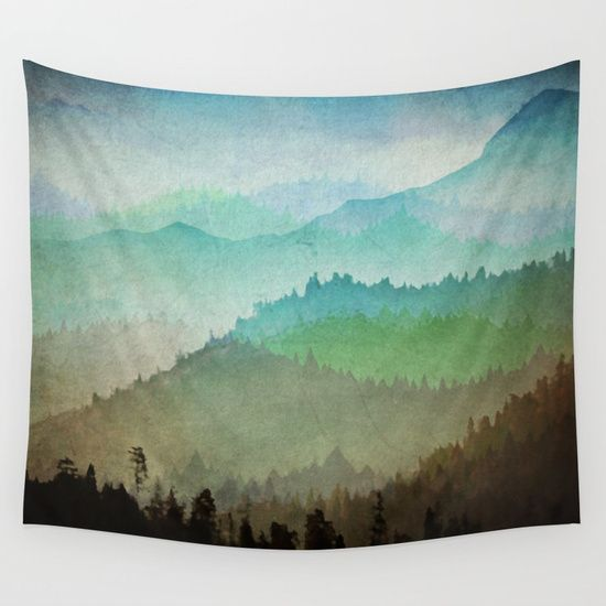 Watercolor Hills Wall Tapestry Tapestry Wall Tapestry Wall Hanging