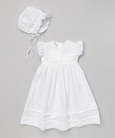 63f91990dc6c Love this White Romi Angel-Sleeve Dress   Bonnet by SAMSofia on  zulily!   zulilyfinds
