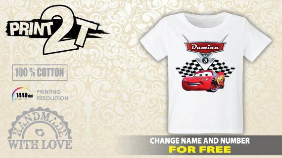 d7cd86a77 Cars Lightning McQueen T-Shirt, Custom Name and Number, cars 3 ...