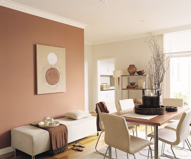Natural and warm this earthy colour scheme is accentuated for Neutral feature wall colours