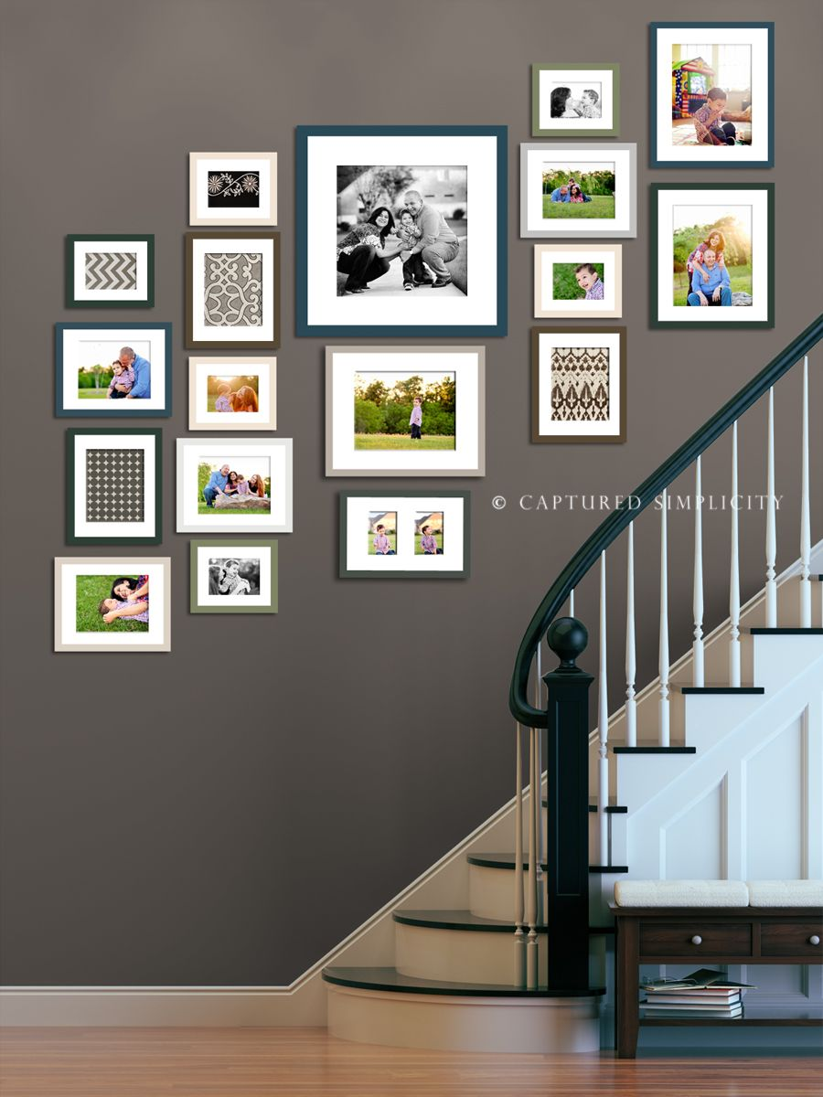 Wall Photo Frames Collage ideas for wall collage on stairway | houston photographer