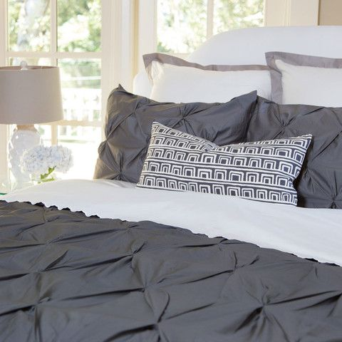 Bedroom inspiration and bedding decor   The Valencia Charcoal Gray Pintuck   Crane and Canopy