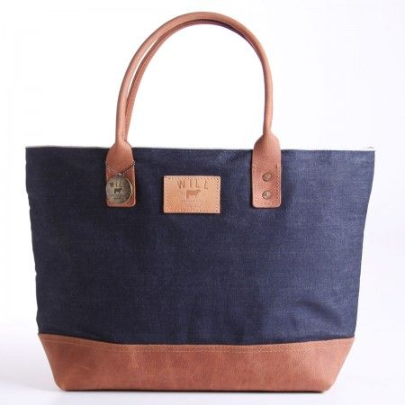 """I'm not a tote guy, but if I were, this would be under my arm.     Utility Tote Indigo - $195.00  From Will Leather Goods  White Oak selvage Cone Denim, a premium denim produced in one of the oldest denim mills in America with fray-resistant construction - a clean edge that does not unravel.   Waxed canvas and natural shrunken Genuine full grain leather  Leather trim will vary  Reinforced leather base  Double rivet reinforced handles  Interior pocket  20.75"""" x 13.5"""" x 6.5""""  Hand made in the…"""