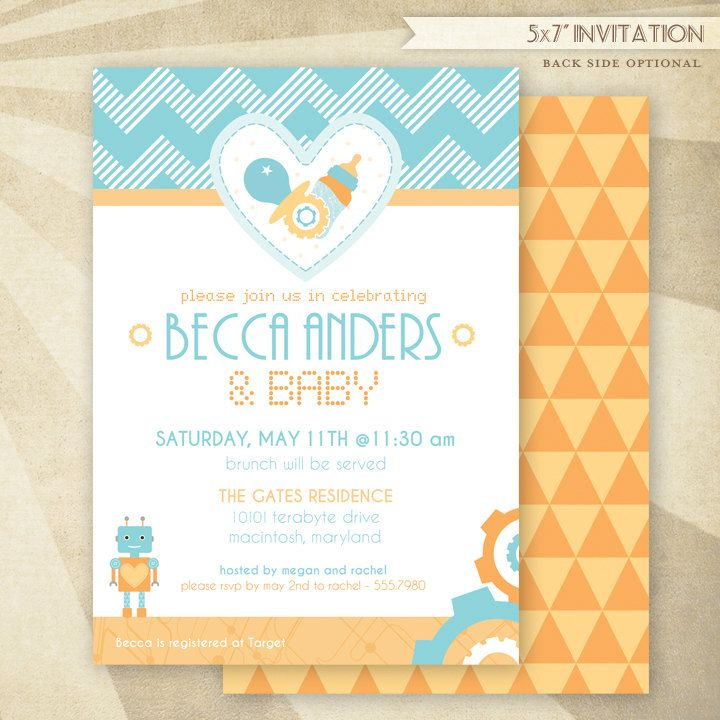 @Megan Ballarini What Do You Think About Printing Our Own Invites? Custom  Robot Baby Shower   PRINTABLE Invitation   HWTM