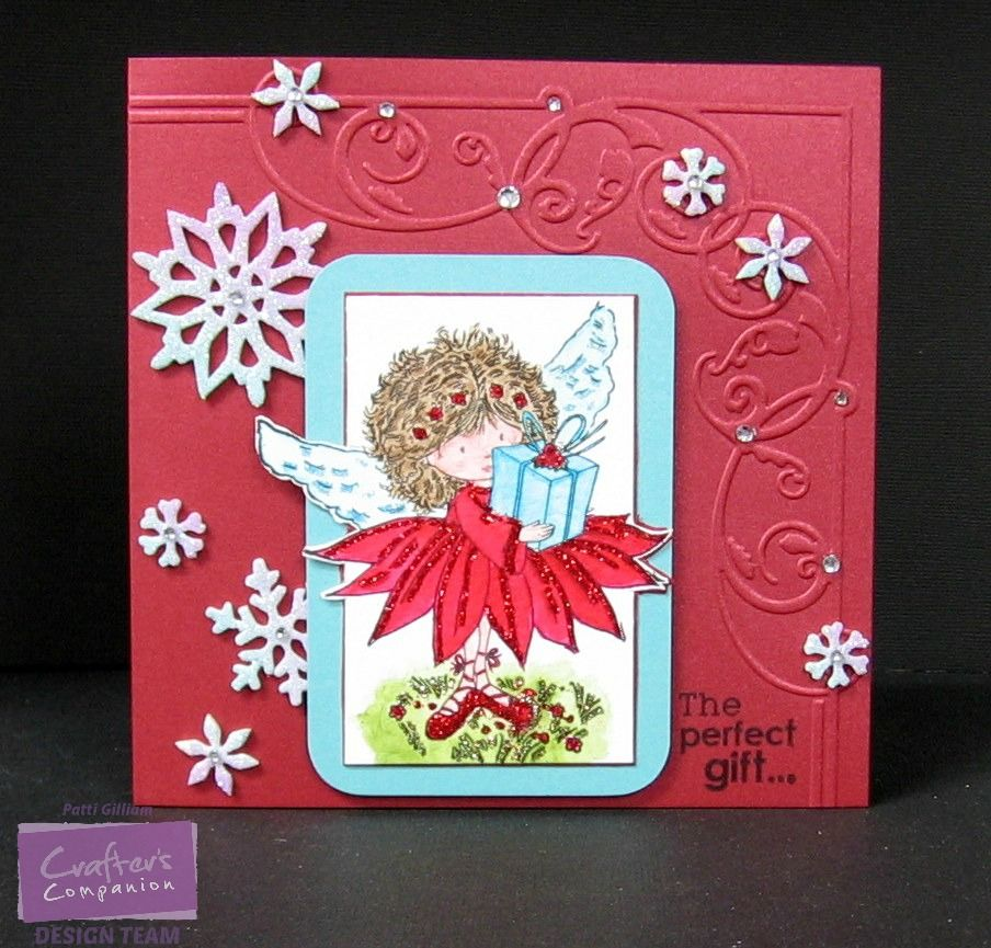 Shimmering Cardstock-Candy Red, Coastal Pearl The Ultimate Tool Die'sire Embossalicious -Regal Corner 6 x 6 Embossing Folder Angelica & Friends Collection 'Florence' Spectrum Aqua Markers-Aquamarine, Scarlet, Peach, Spice, Tan, Moss
