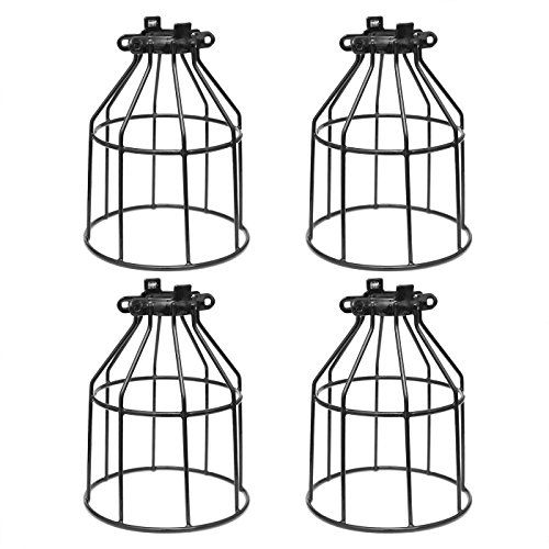 Supmart metal bulb guard clamp on steel lamp cage for hanging pendant lights and vintage lamp holdersopen style black industrial wire iron bird