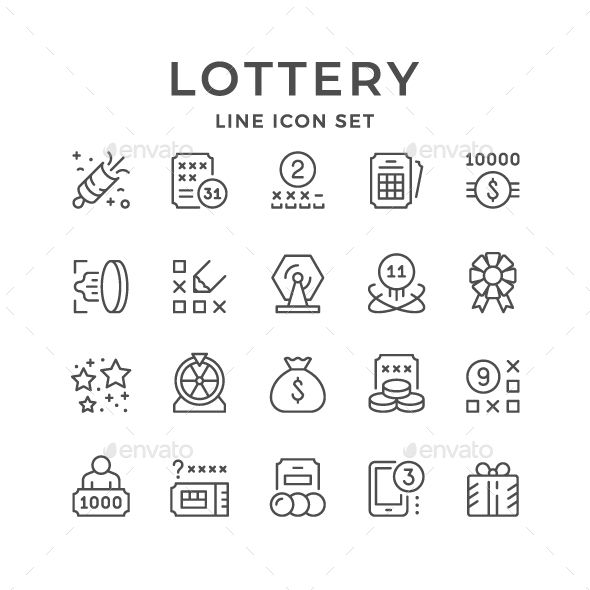 Set Line Icons of Lottery Line icon, Lottery, Icon