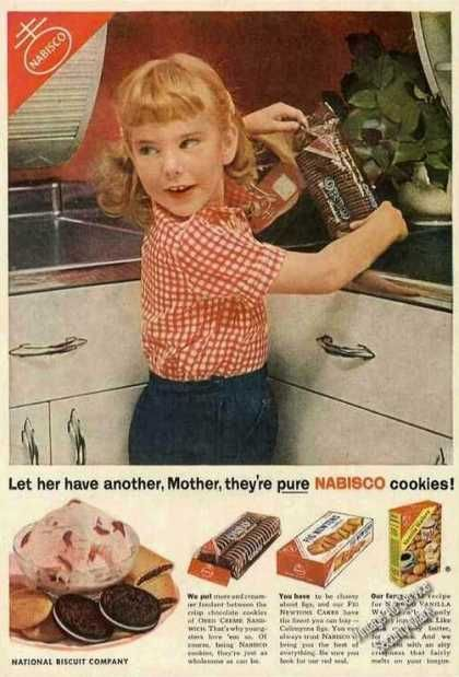 old Little Debbie ads | Young Girl Reaching for Oreos Nabisco (1954)