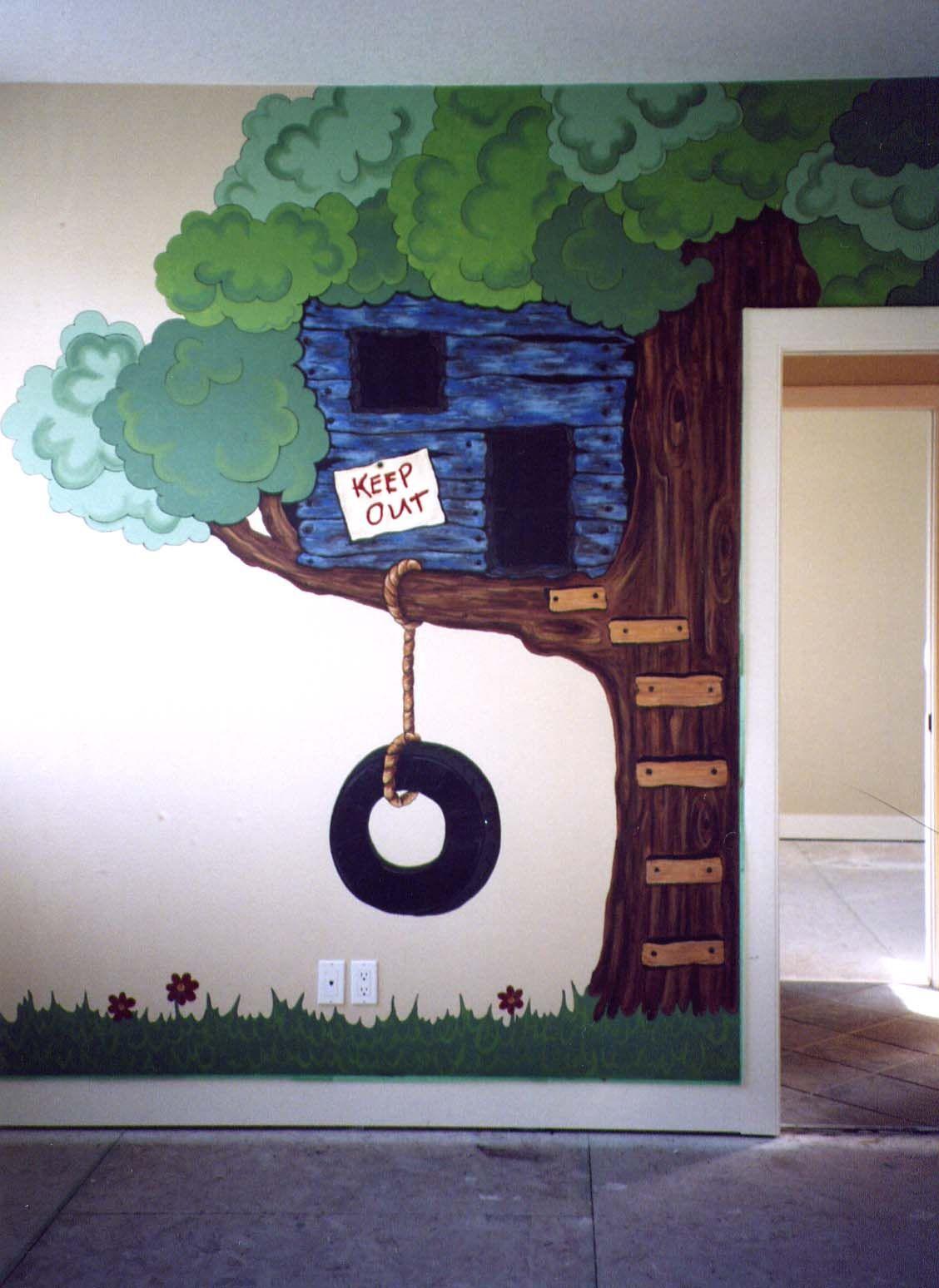 Treehouse Mural Tree Mural Tree House Kids Kids Room