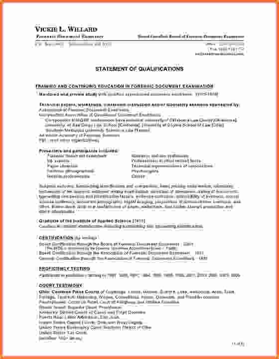 statement qualifications templatemple resume qualification doc - statement of qualifications example