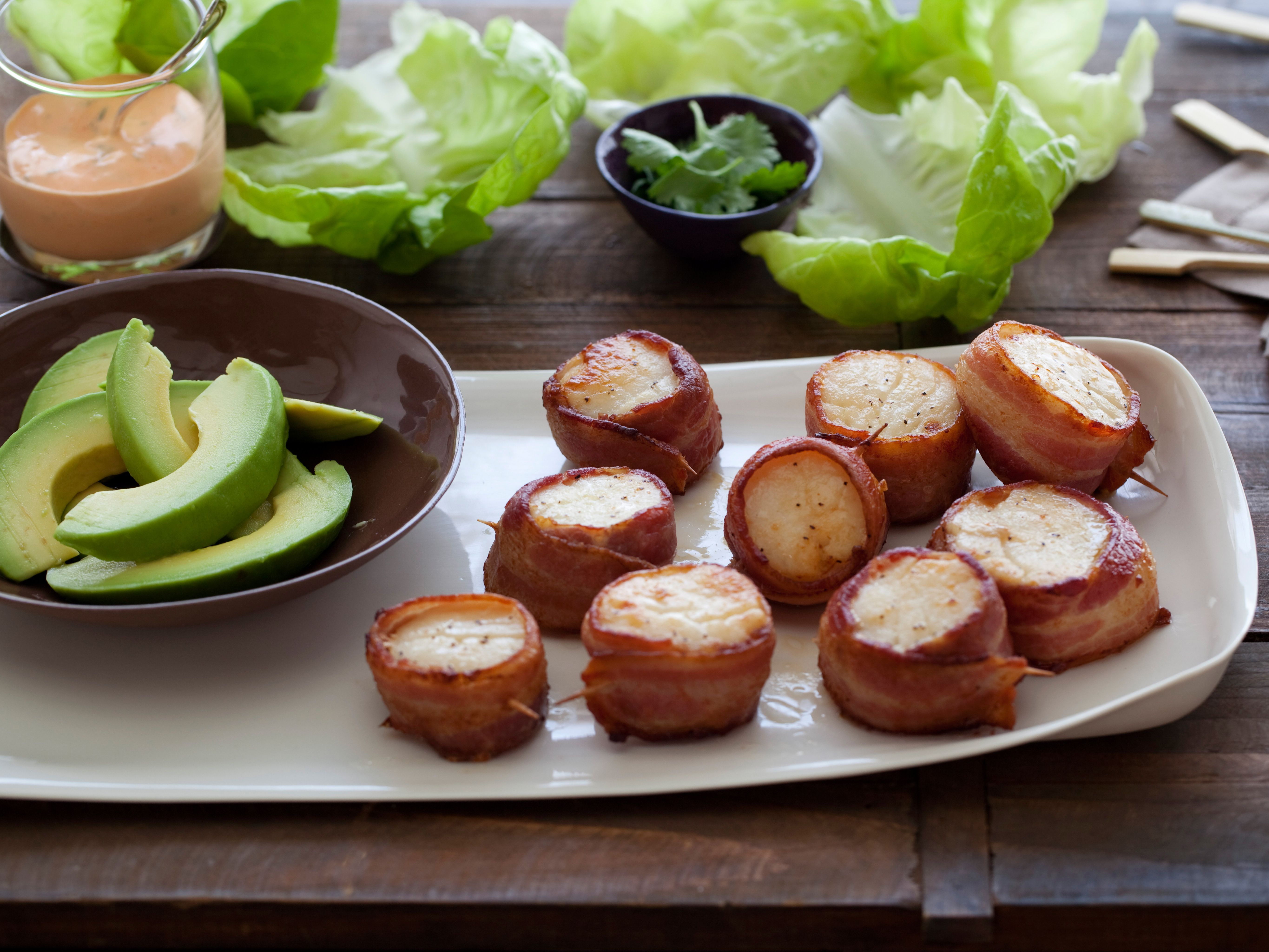 Bacon Wrapped Scallops with Spicy Mayo. hardest part is finding decent scallops!