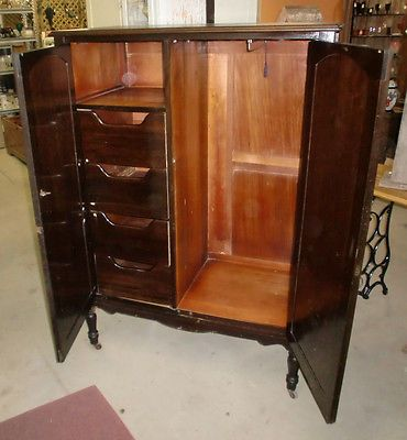 Antique Vintage Wardrobe Armoire Chifferobe Dresser Closet Original Old  Finish