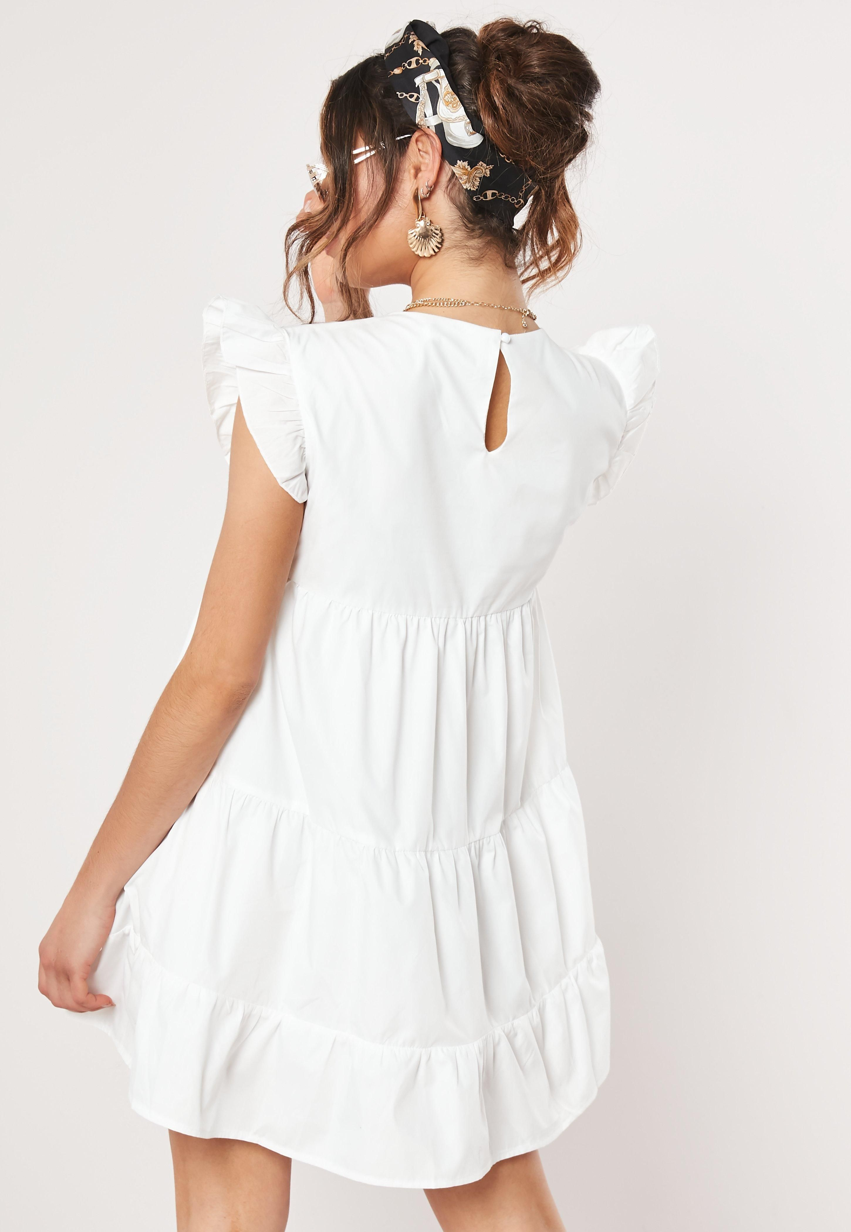 White Tiered Frill Smock Dress Sponsored Tiered Aff White Frill Summer Dress Outfits Dresses Trending Dresses [ 4200 x 2900 Pixel ]