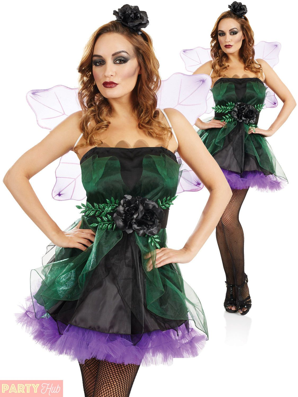 Ladies Evil Bad Fairy Nymph Costume Adult Halloween Fancy Dress Womens Outfit  sc 1 st  Pinterest & Ladies Evil Bad Fairy Nymph Costume Adult Halloween Fancy Dress ...