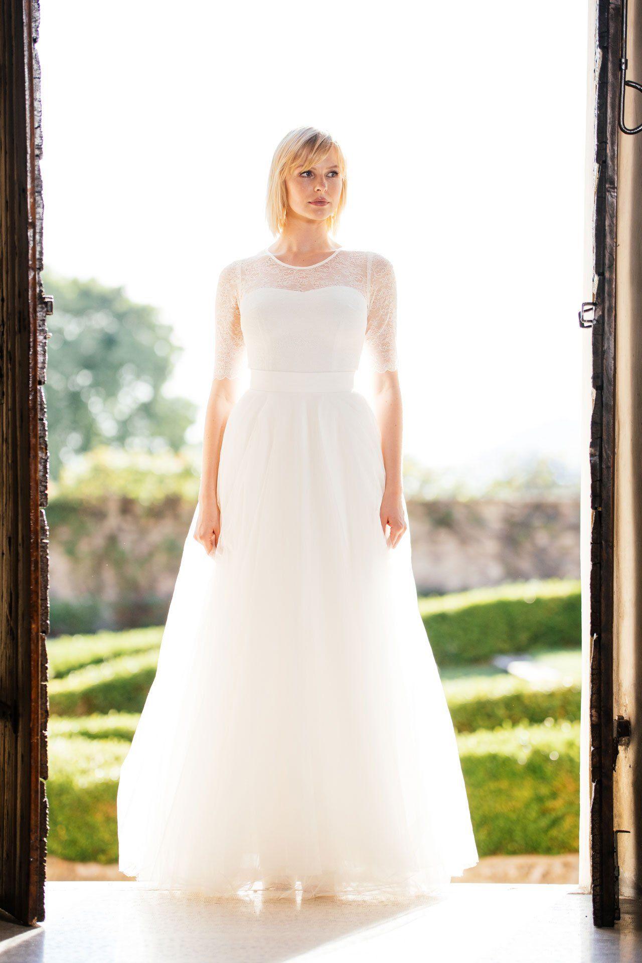Hochzeitsrock In Tull Zum Etuikleid Kombiniert Ein Herrliches