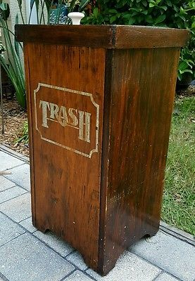 Vintage Wooden Wood Trash Bin Trash Can Kitchen Garbage Can Collectibles Kitchen Home Kitchenware Ebay Wooden Trash Can Trash Bins Trash Can