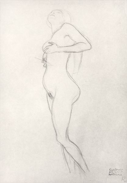 Standing Nude Girl Looking Up (charcoal on brown paper) (b/w photo)  Klimt