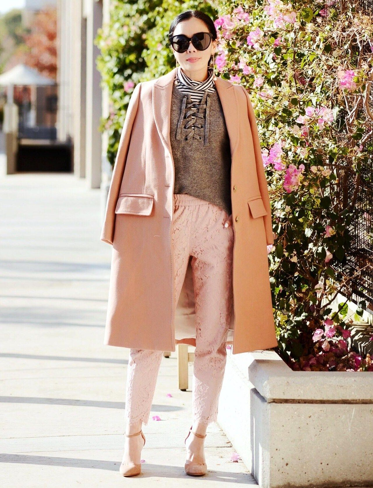 12.16 weekend blush (Madewell pink coat + Madewell lace-up sweater + J Crew striped turtleneck + J Crew lace pants + Gianvito Rossi mary jane blush pumps + Linda Farrow sunnies + Ryan Storer rose gold earrings)