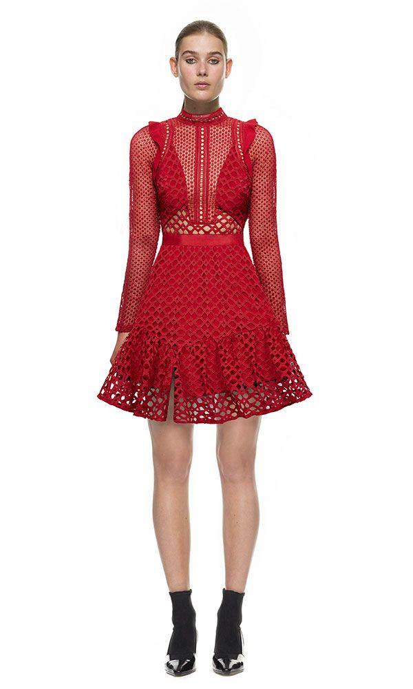 a035355c2017 Self Portrait Hall Mini Dress In Raspberry Red