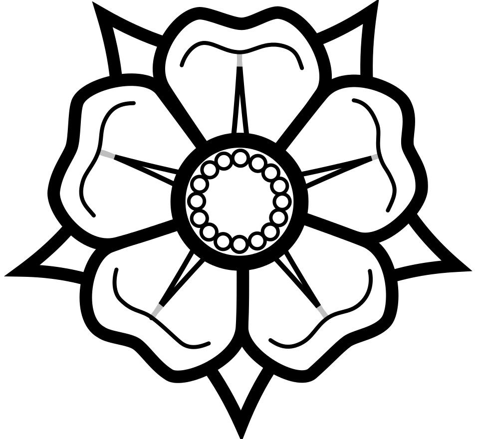 Simple heraldic rose for embroidery or leather working carving