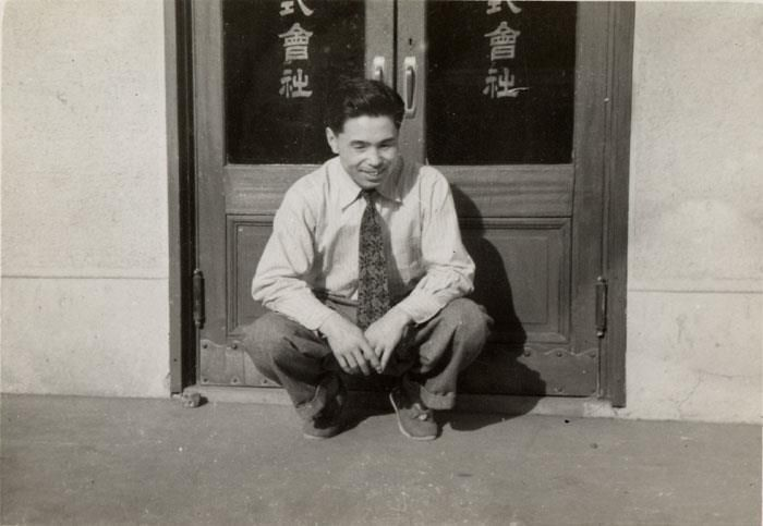 Our founder, Kihachiro Onitsuka, in fron of the #OnitsukaTiger factory in Kobe, Japan, in 1953.