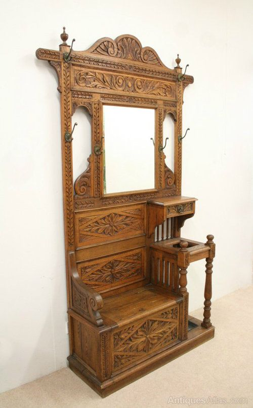 Victorian Carved Oak Hall Stand Hall Bench Antiques