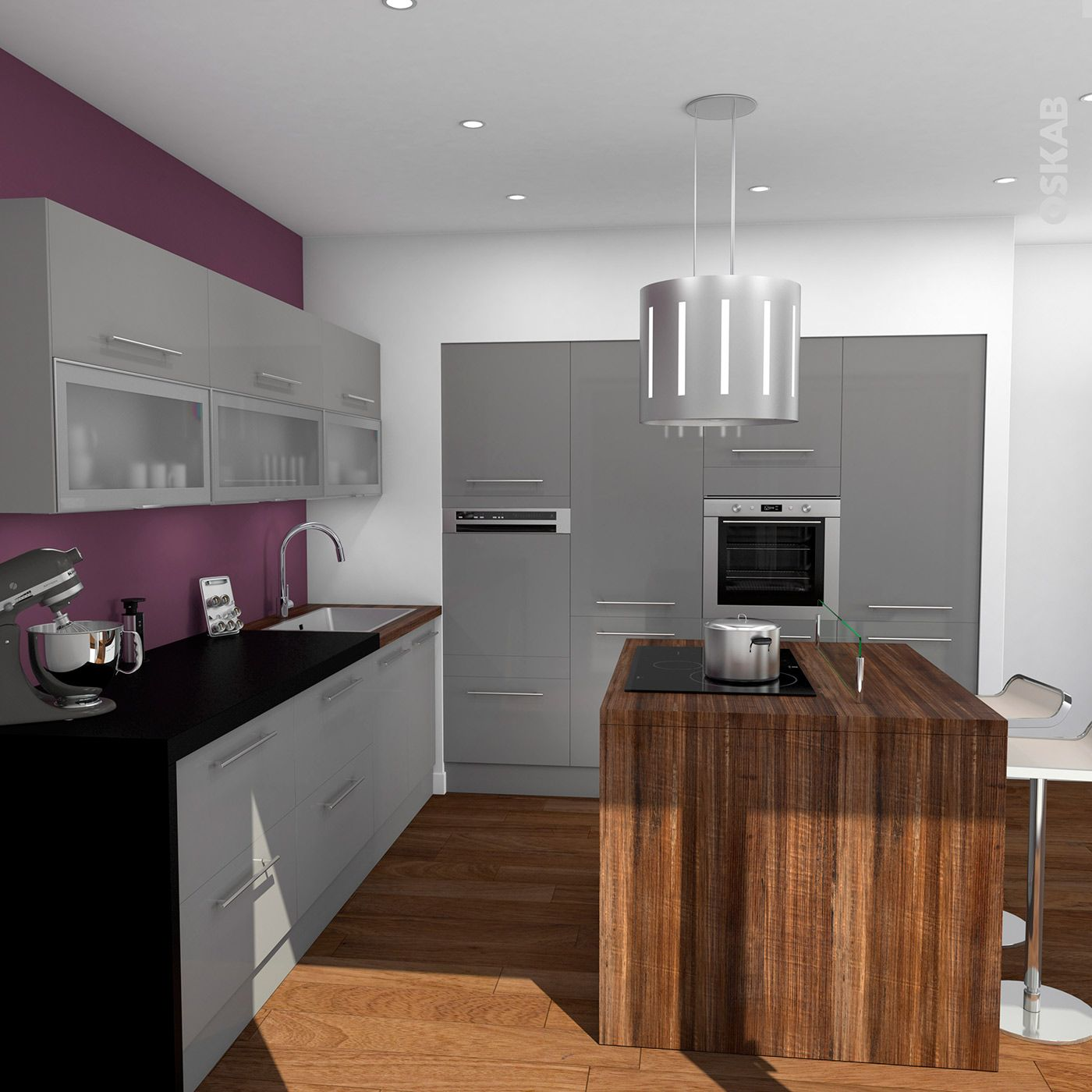 cuisine gris anthracite finition brillante design rustique plan de travail dcor chne vieilli et noir - Cuisine Grise Et Plan De Travail Noir