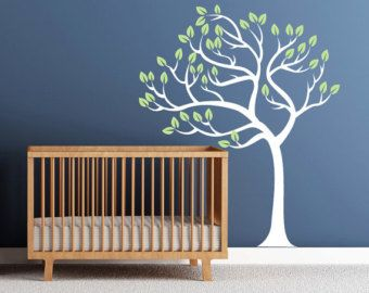 Baby Nursery Tree Wall Decal - Large Tree Removable Mural - Baby Room Tree Decal