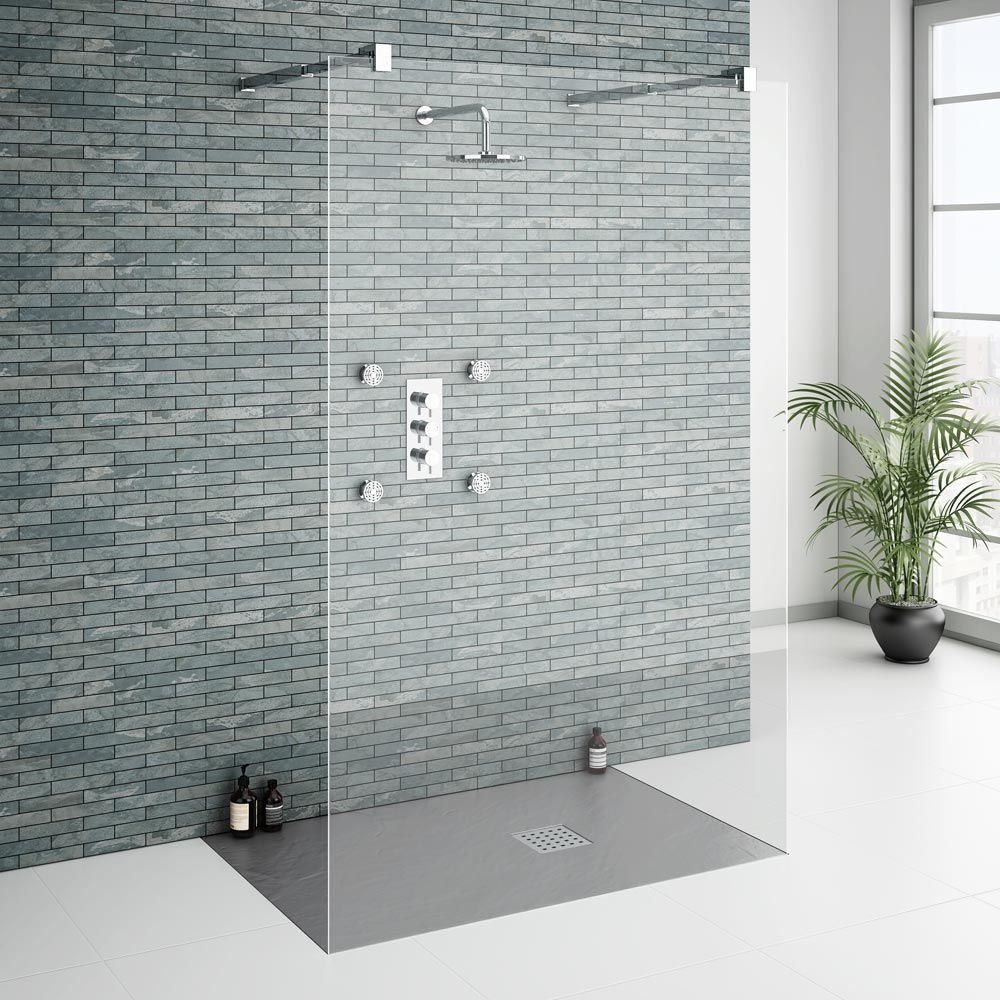 imperia graphite slate effect rectangular tray 1200 x 900mm inc