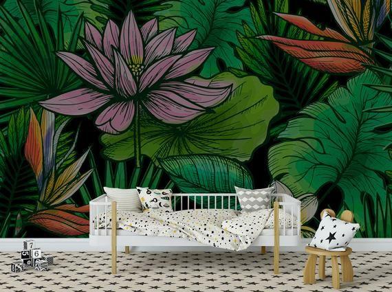 Dark Tropical Wallpaper Indian Flower Wallpaper Lotus Etsy Tropical Wallpaper Flower Wallpaper Mural Wallpaper