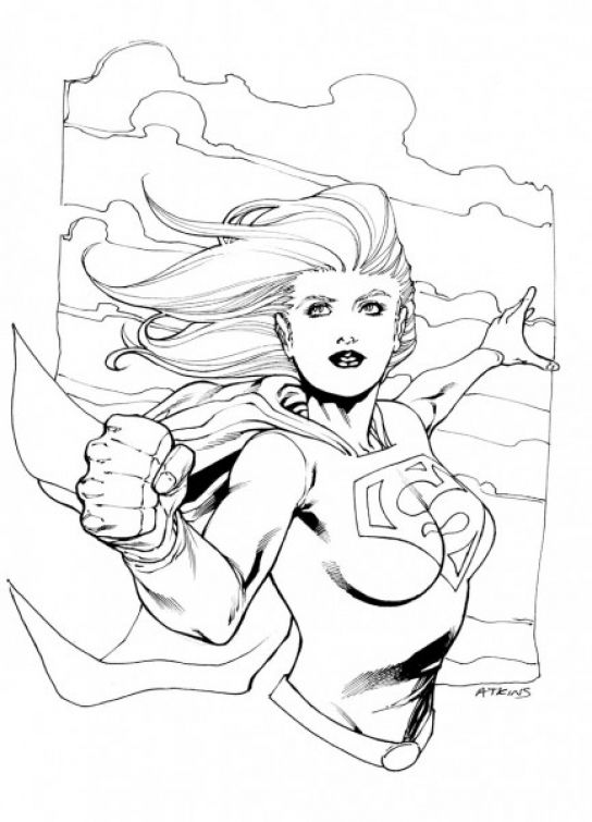Superheroes coloring page of Supergirl