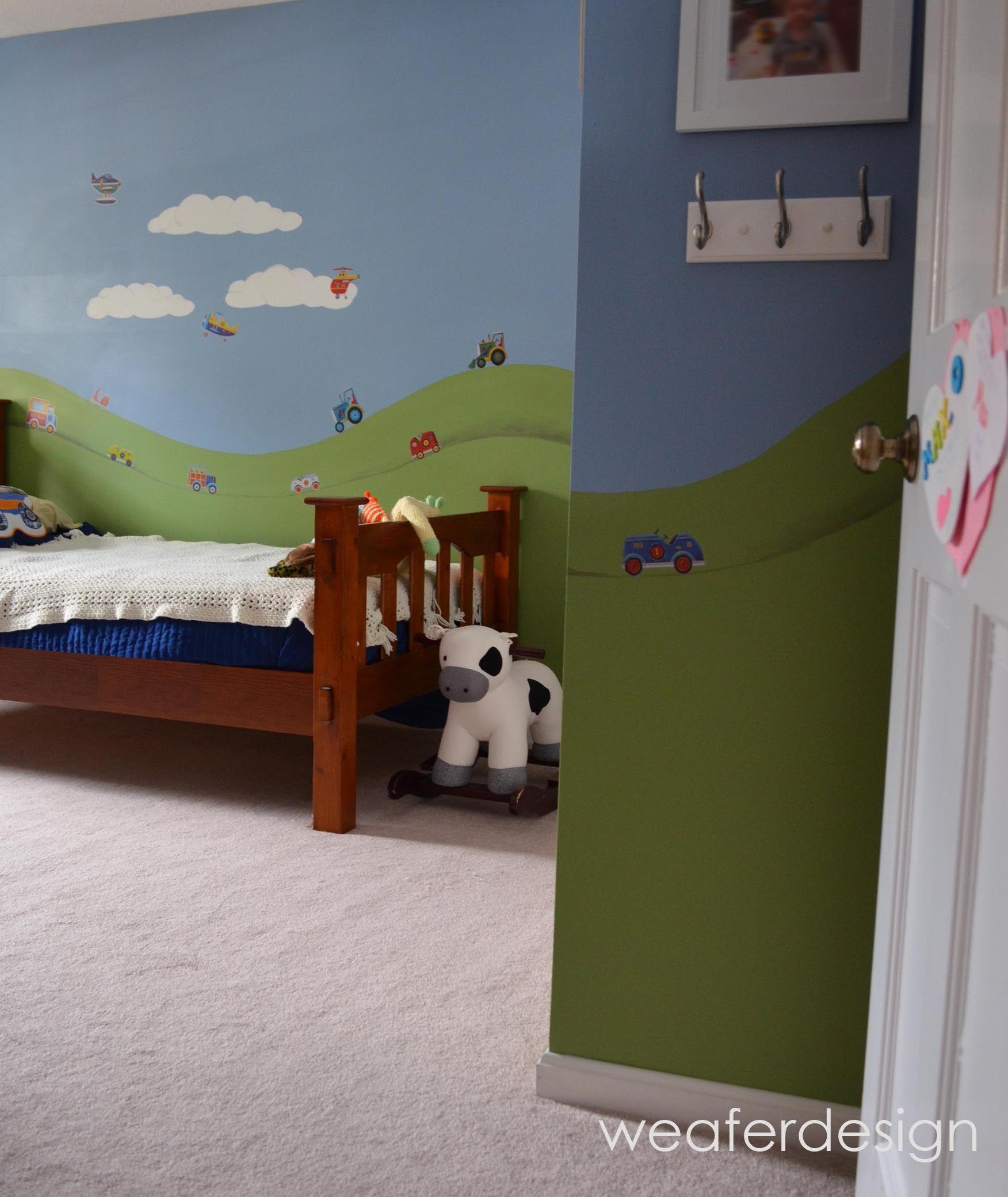 Boys Room, Hills, Sky Hand Painted, Cars