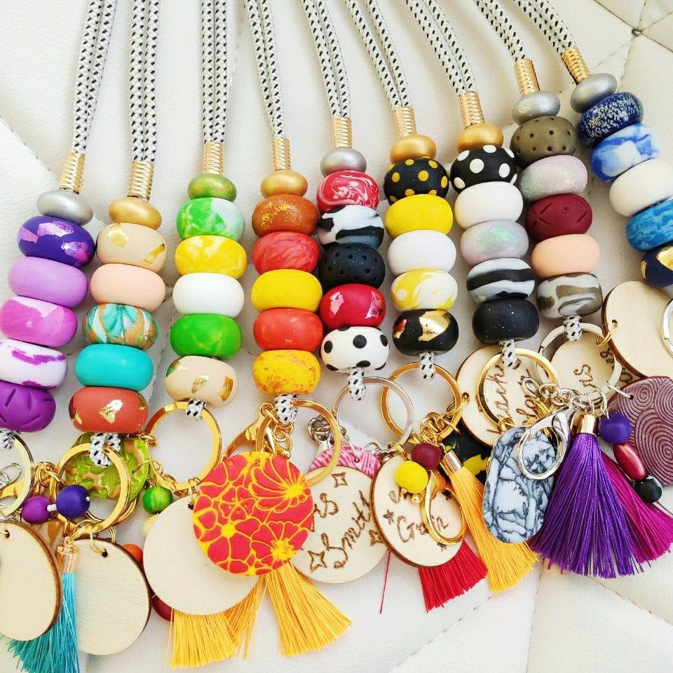 polka dot ID badge necklace trendy accessory neon bead ID badge bright polymer clay bead lanyard teachers gift student ID holder