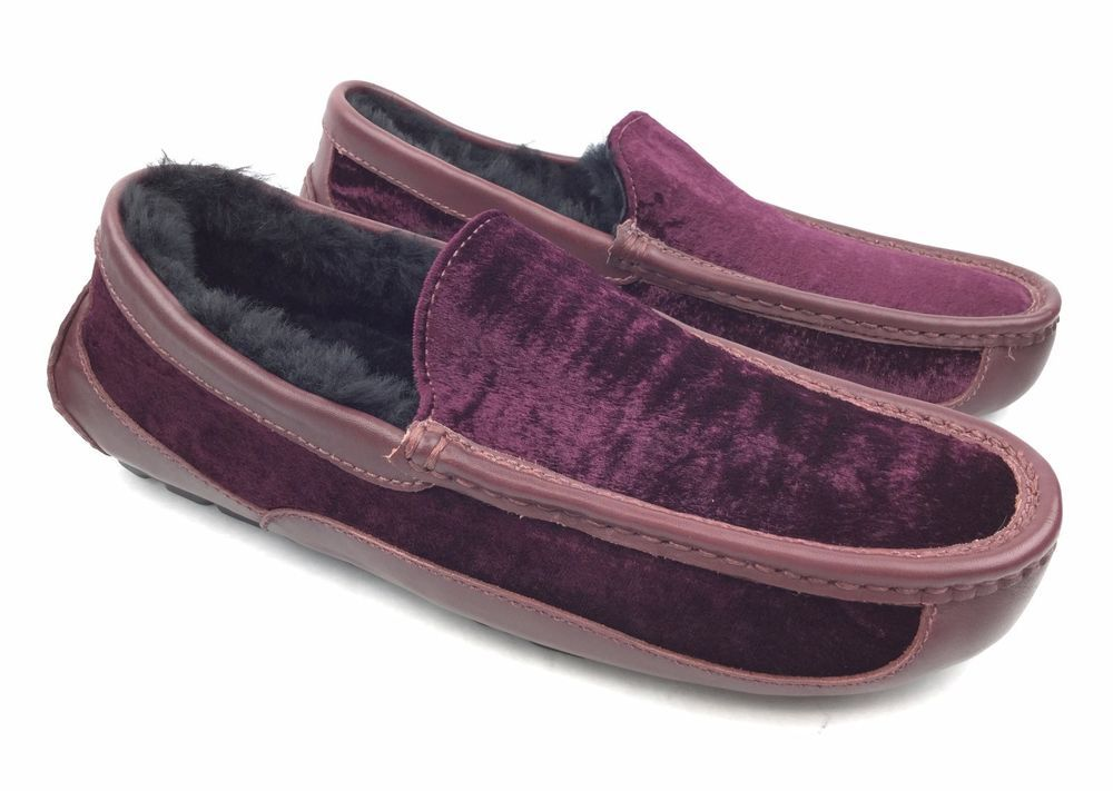 bf11c36b9ad29 UGG Men's Ascot Wine Purple Leather and Velvet Moccasins Slippers sz: US 9 # UGGAustralia #MoccasinSlippers