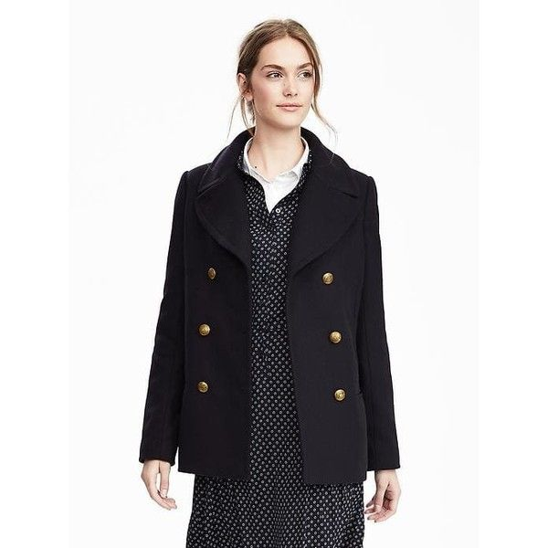 79a95a3a866 Banana Republic Melton Wool Classic Peacoat ( 268) ❤ liked on Polyvore  featuring outerwear