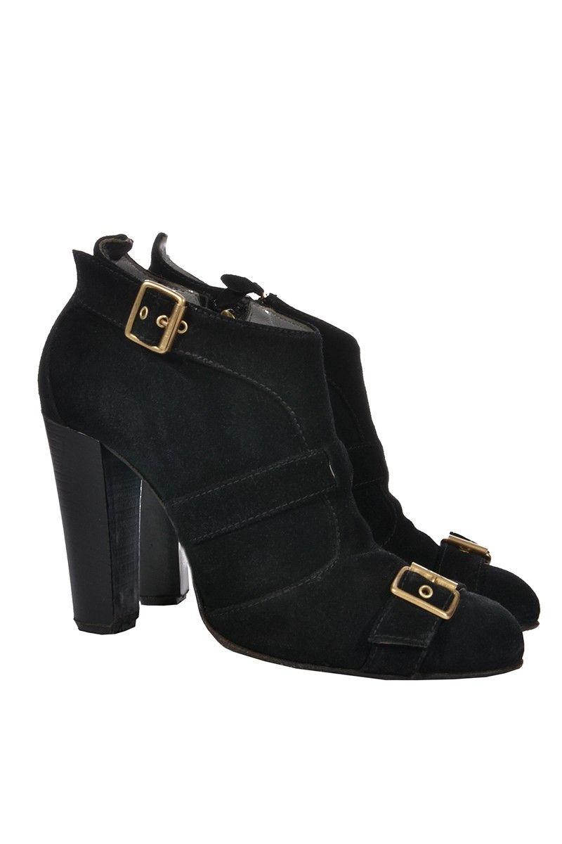 #Escada | Ankle #Boots aus schwarzem Wildleder, Gr. 40 | Escada Booties | mymint-shop.com | Ihr #OnlineShop für #Secondhand / Vintage Designerkleidung & Accessoires bis zu -90% vom Neupreis das ganze Jahr #mymint