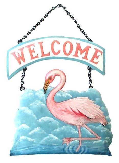 Painted Metal Flamingo Welcome Sign Tropical Home Decor 10 X 10 Outdoor Metal Wall Art Tropical Home Decor Tropical Decor