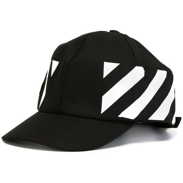 411ae2b7f1e Off-White striped panel cap The Parliament ❤ liked on Polyvore featuring  accessories