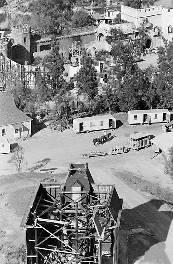 The view from behind the Psycho (1960) house at Revue Studio (Los Angeles). MCA bought the Universal Studios lot in 1958 and was renamed Revue Studios. Following the acquisition of Decca Records, the then-parent of Universal Pictures, the studio backlot name was changed back to Universal. In 1964, MCA formed Universal City Studios, to merged the Motion Picture and Television arms of both Universal Pictures and Revue Productions. Revue was officially renamed Universal Television in 1966.