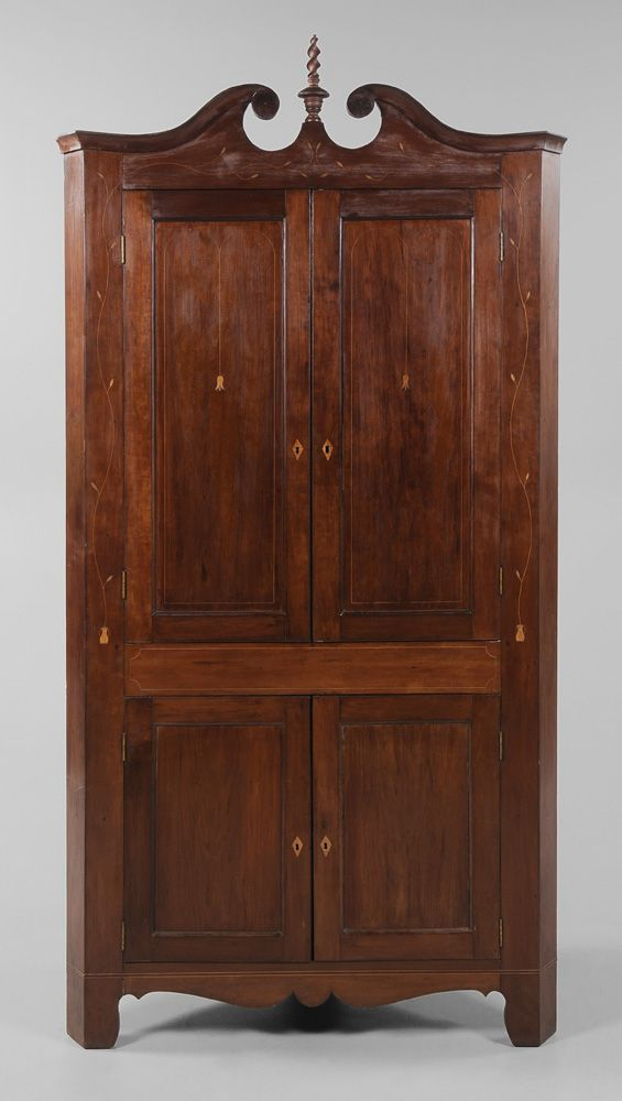 Southern Federal Inlaid Cherry Corner Cupboard possibly Kentucky, 19th  century, trailing vine, line - Southern Federal Inlaid Cherry Corner Cupboard Possibly Kentucky