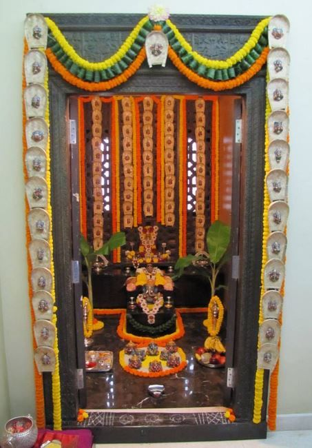 Pooja room decoration for ganpati indian festivals for Background decoration for ganpati