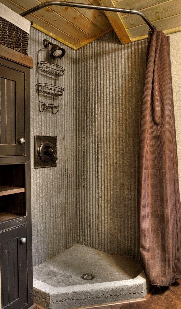 cool Idée décoration Salle de bain - Masculine Corrugated Metal ...