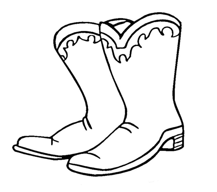 Cowboy Winter Boots Coloring Page Winter Coloring Page