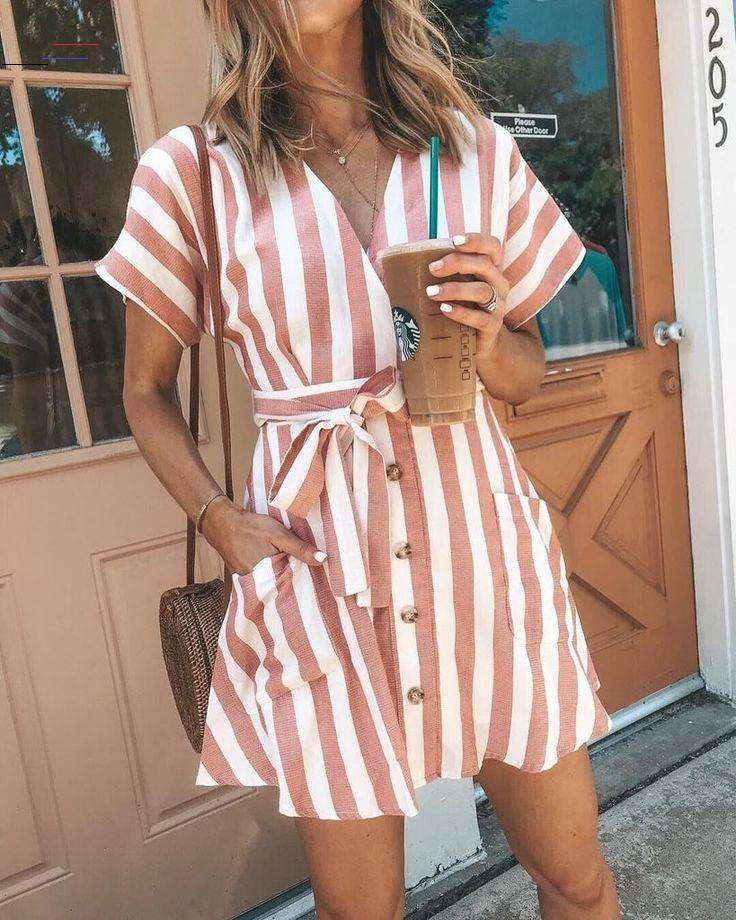 Bohemia Short Sleeves Striped Mini Dress - fashion beauty Bohemia Short Sleeves Striped Mini Dress...