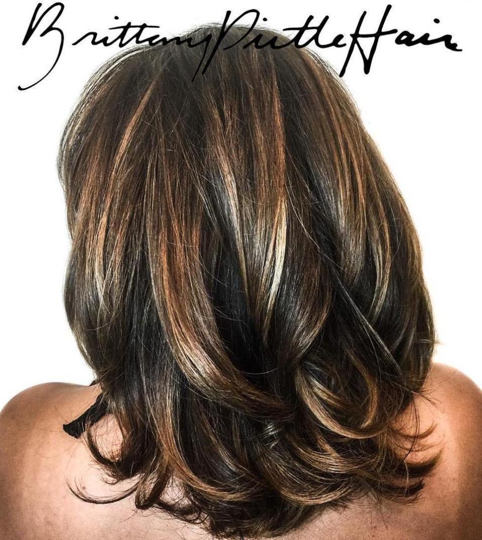 sensational medium length haircuts for thick hair brown blonde