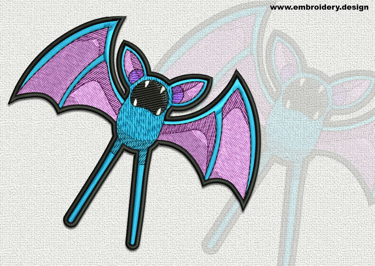 Zubat Pokemon embroidery design – 2 sizes - downloadable by EmbroSoft on Etsy